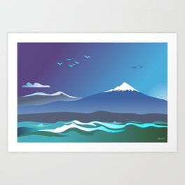 Mont Taranaki From The Sea Art Print
