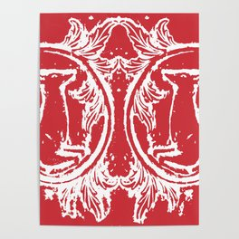 twin dancing stags of asheville from a wood carving Poster