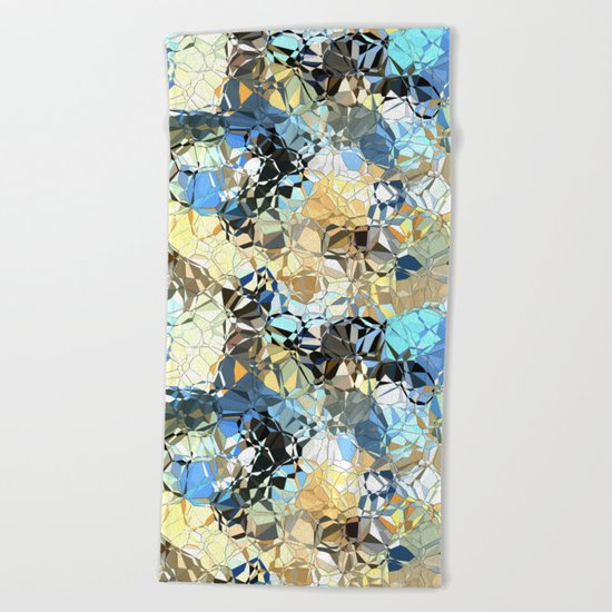Blue And Beige Pattern Beach Towel