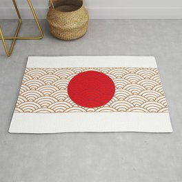 Ornamented Japanese Flag Rug
