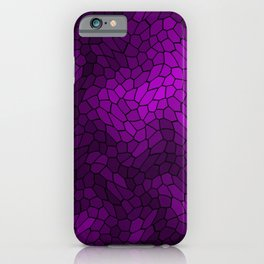 Stained glass texture of snake violet leather with light heat spots. iPhone Case