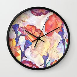 Painted Carnations Wall Clock