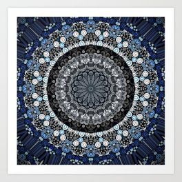 Dark Blue Grey Mandala Design Art Print