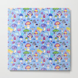 Watercolor Mushroom Pattern on Blue Metal Print