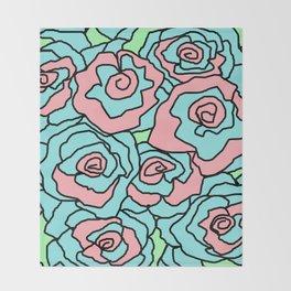 Doodle Art Flower Roses - Aqua Pink Throw Blanket