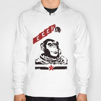 soviet Hoodies featuring Soviet Space Monkey by Chris Kawagiwa