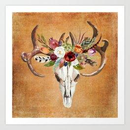 Boho Flower Skull on Ocre Canvas Art Print