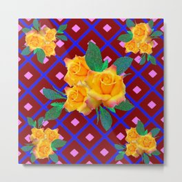 Triple Golden Rose Bouquet Purple-Blue Art Metal Print