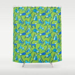 kitty kat (blue on green) Shower Curtain