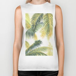 Tropical Palm Leaves Biker Tank