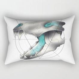 Blue Flame Wolf Skull Rectangular Pillow