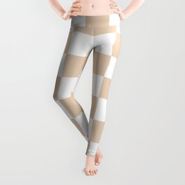 Checkered - White and Pastel Brown Leggings