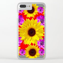 RED-GREY PURPLE FLOWERS & SUNFLOWERS DECO ART Clear iPhone Case