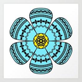 Hippie Geometric Flower Art Print