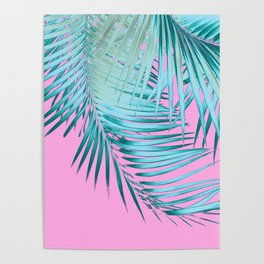Palm Leaves Pink Blue Vibes #1 #tropical #decor #art #society6 Poster