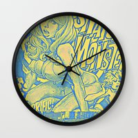 snatch Wall Clocks featuring Attack Of The 50 Foot Snatch Monster  by S.D. Strobeck