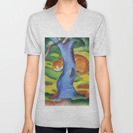 """Franz Marc """"Children's Picture: Cat behind a Tree (Kinderbild: Katze hinter einem Baum)"""" Unisex V-Neck"""