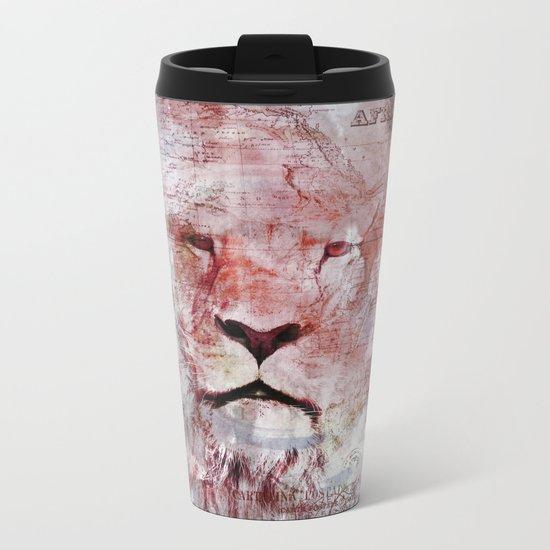 Watercolor Lion Vintage Africa Illustration Metal Travel Mug