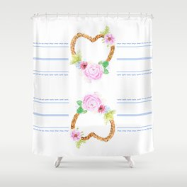 flower heart pink rose and daisy watercolor Shower Curtain