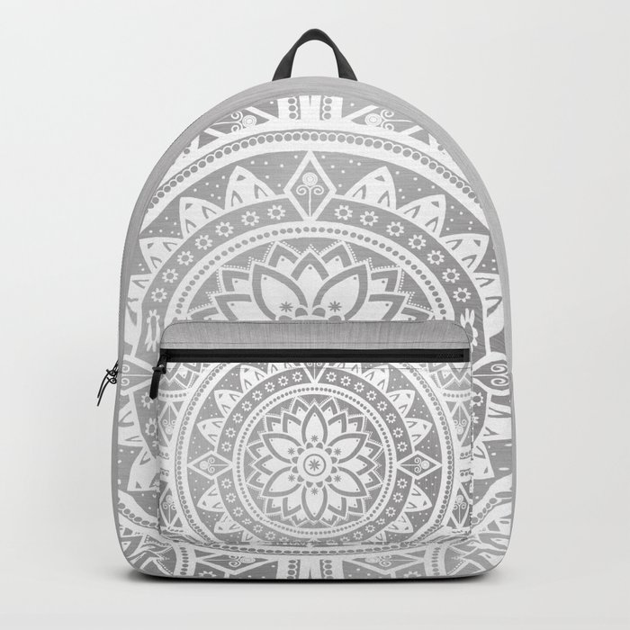 Silver & White Patterned Flower Mandala Backpack