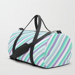 Deep Sea Green Turquoise Violet Inclined Stripes Duffle Bag