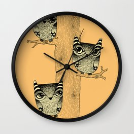 Owls (orange) Wall Clock