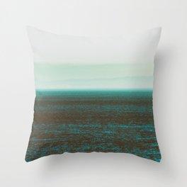 Sea front green Throw Pillow