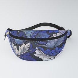 Deep Blue Acanthus Leaves Art Nouveau Morris Fanny Pack