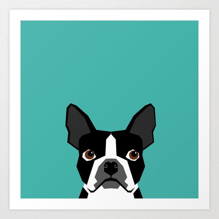 Boston Terrier head dog breed gifts cute pupper boston terriers must haves Art Print
