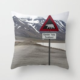 Polar bears traffic sign in Svalbard Throw Pillow