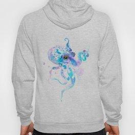 Sky Blue Soft Pink Turquoise Violet Octopus, teal animal beach art Hoody