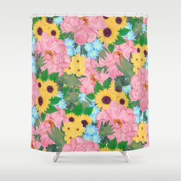 Trendy Pink Peonies Yellow Sunflowers Watercolor paint Shower Curtain