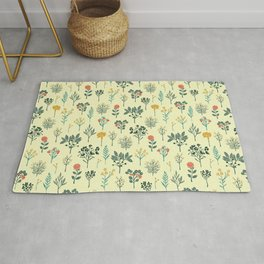 Dainty Yellow, Red, Teal & Cream Floral Pattern Rug