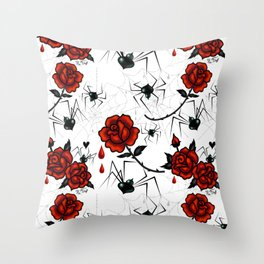 Black Widow Spider with Red Rose Throw Pillow