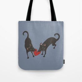 Black Dog Heartbreak Tote Bag