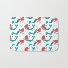 Red Haired Mermaids Pattern Bath Mat