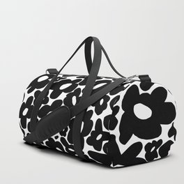 60s 70s Hippie Flowers Black Duffle Bag