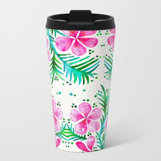 Orchid Bunch – Fuchsia & Green Palette Metal Travel Mug