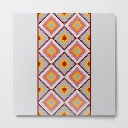 Turkish carpet blue gray pink orange. Patchwork mosaic oriental kilim rug Metal Print