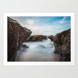 Scenic Coastal Rocks and Sea Spray Photograph Art Print