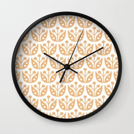 Mid Century Modern Flower Pattern 731 Harvest Gold Wall Clock