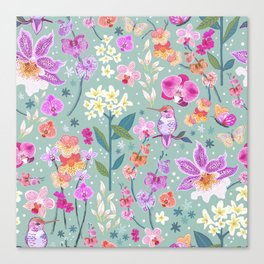 Orchid Garden on Sage Green Canvas Print