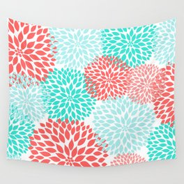 Coral Teal Dahlia Bouquet Wall Tapestry