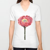 peonies V-neck T-shirts featuring Peonies by GANTPANTS