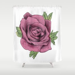 Watercolour Red Rose Shower Curtain