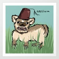 fez Art Prints featuring Badger with a Fez by Cat Graff