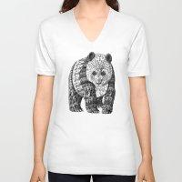 panda V-neck T-shirts featuring Panda by BIOWORKZ