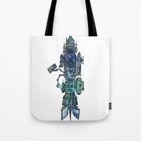 spaceship Tote Bags featuring Spaceship  by Joseph Kennelty