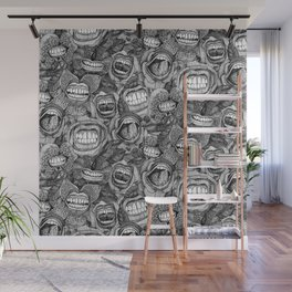 BITE ME roses and orchids BLACK WHITE Wall Mural