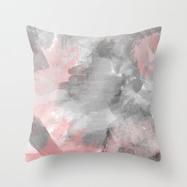 GreyPink Watercolour Throw Pillow